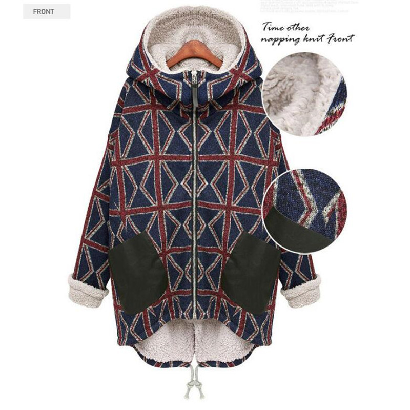 Women Winter Coat Clothes Lamb Jackets Thickening Warm Hooded Parka Overcoat Plus Size Geometric Irregular Poncho Cotton Coats winter keep warm thicken women s cotton slim long coat hooded parka jackets coats white overcoat plus size down parkas clothes