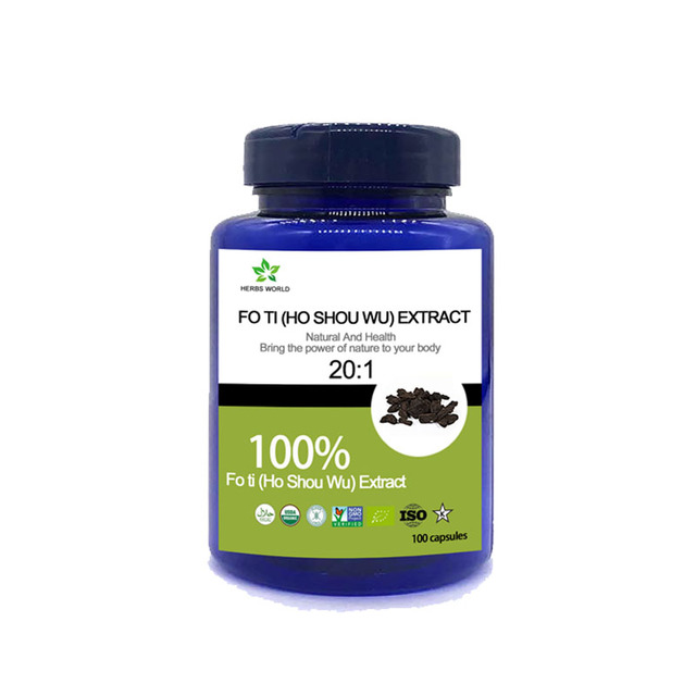 Naturale Fo Ti (Ho Shou Wu) Estratto di capsule, 100% Fo Ti (Ho Shou Wu) estratto in polvere 20:1