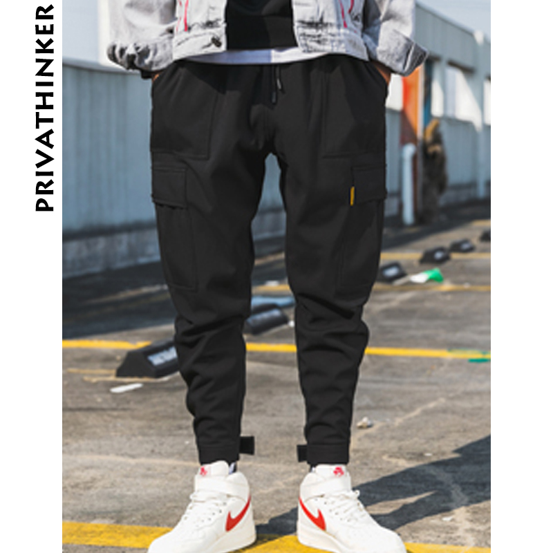 Image 2 - Privathinker Men Black Joggers Pants Summer 2019 Mens Big Pockets Ankel Cargo Pants Male Spring Streetwear Overalls Sweatpants-in Sweatpants from Men's Clothing