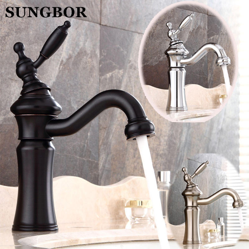 Vintage Style Antique Faucet Black Tall Bathroom Faucets Brass Finish Washbasin Taps Hot and Cold Water Face Mixer Tap AL-7228H цена