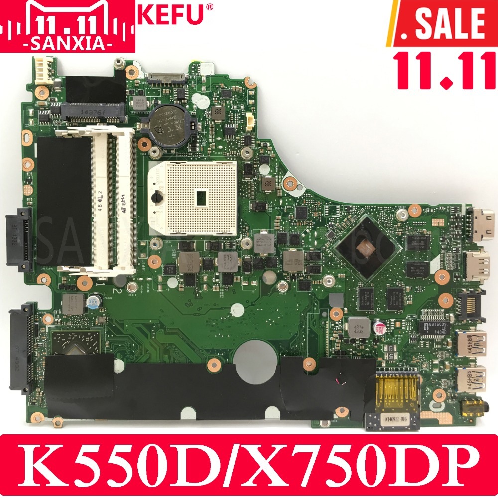 KEFU K550D X750DP Laptop motherboard for ASUS X750DP X550DP K550DP K550D X550D K550 X550 Test original mainboard цена