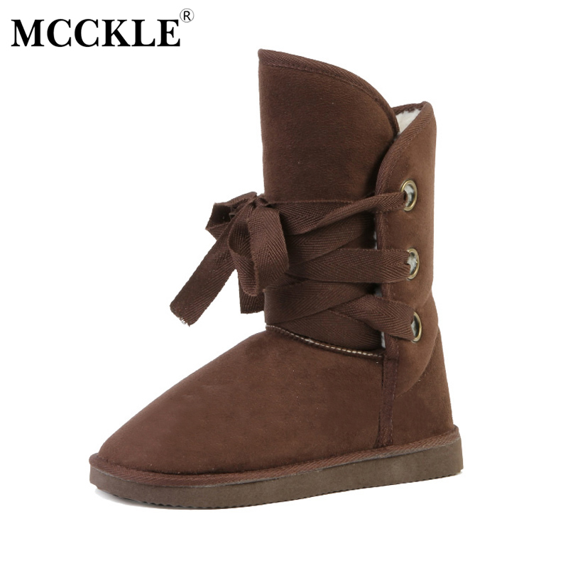 MCCKLE 2017 Women Lace Up Winter Ankle Snow Boots Female Warm Plush Fur High Quality Suede Black Platform Comfortable Shoes 2017 new fashion women winter boots classic suede ankle snow boots female warm fur plush insole high quality botas mujer lace up
