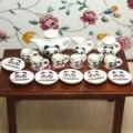 1:12 Toy Dollhouse Miniatura 17 Unids Panda Patrón de Porcelana Juego de Té SPO046