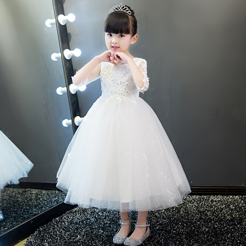 White Ball Gown Princess Dress Evening Birthday Party Appliques Hollow Out Half Sleeve Flower Girl Dresses Wedding Kids Clothes
