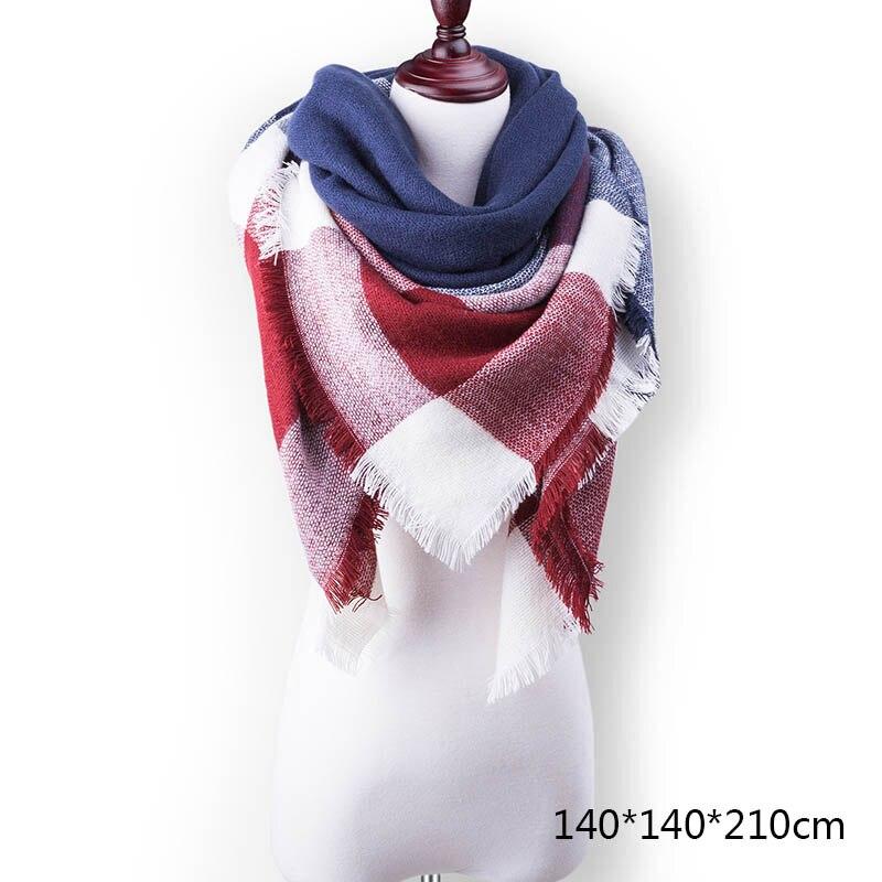 Горячая Распродажа, Модный зимний шарф, Женские повседневные шарфы, Дамское Клетчатое одеяло, кашемировый треугольный шарф,, Прямая поставка - Цвет: A2
