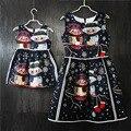 Семьи сопоставления одежда марка Европейский мультфильм Рукавов платье матери и девушки midi платья мать и дочь платья