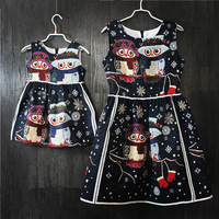 Family Matching Clothes Brand European Cartoon A Shape Sleeveless Mother Girls Midi Dresses Party Mother And