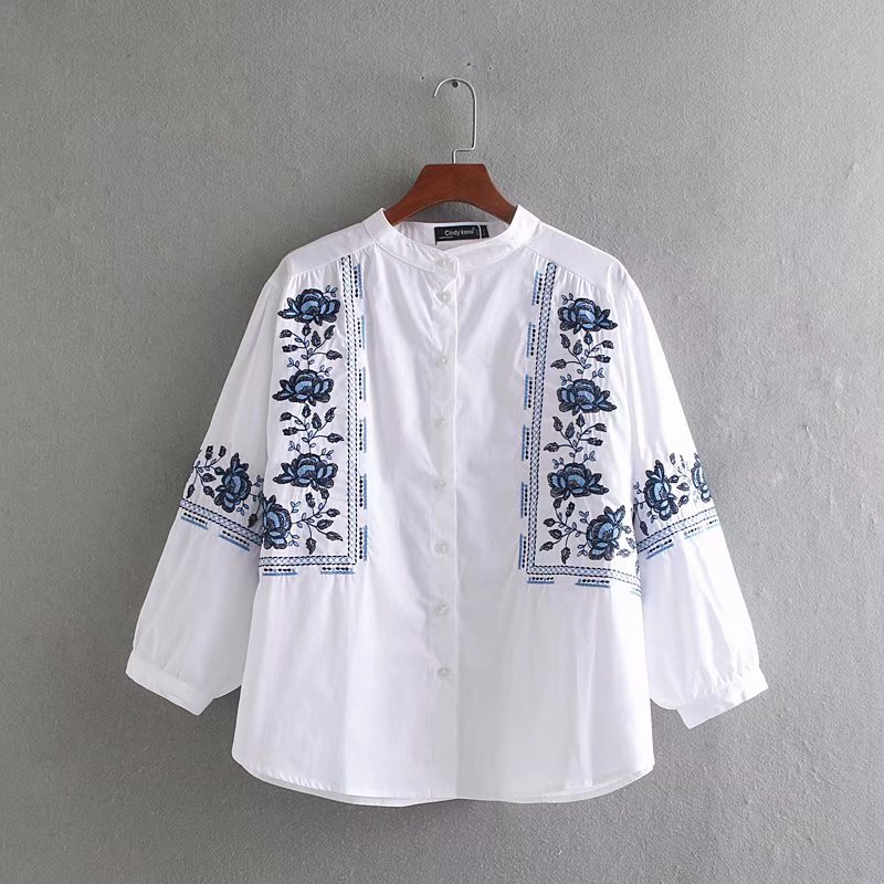 2019 Women Vintage O Neck Position Floral Embroidery Loose Blouse Lantern Sleeve Casual Shirts Chic Chemise Blusas Tops LS3733