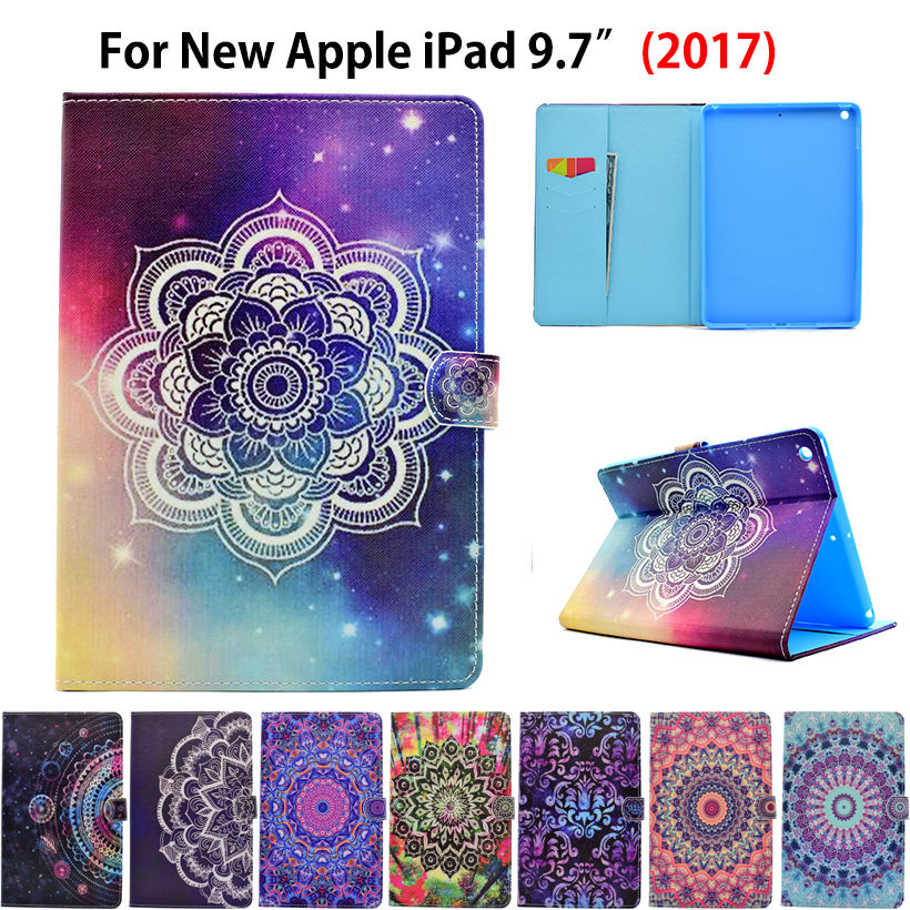 Fashion Painted Pattern Flip Cover For Apple New iPad 9.7 2017 Case Funda Tablet Silicone Leather Stand wake/sleep Shell A1822