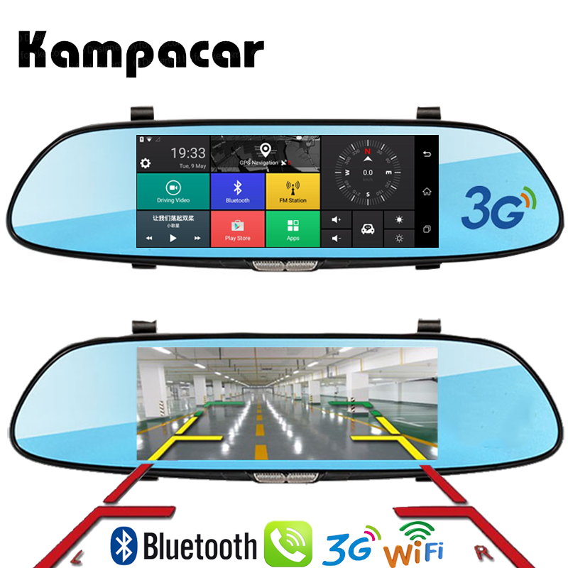 Kampacar HD 7 Car Camera Mirror Android Dash Cam GPS Registrator Car Dvr 3G Rear view Mirror With Navigator Wifi Video Recorder gps navigator mirror car video recorder with bluetooth full hd resolution wifi camera automobile dvr rearview mirror dash cam