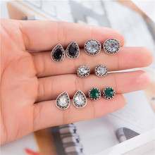 5 Pairs/set Black White Green Crystal Round Stud Earrings Boho Water Drop Piercing Brincos Jewelry For Women Boucle Doreille