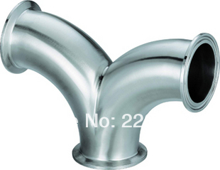 New arrival  Stainless Steel SS304 quick install OD 51mm Sanitary Clamp connection 3 ways arc same DIA Y  Pipe Fitting new 48mm tee 3 way stainless steel 304 butt weld pipe fitting ss304
