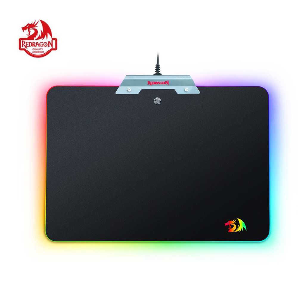 Redragon Gaming Mouse Pad Extra Large Xl Extended Stitched Edges Mousepad Razer Speed 300x250 Mm P011 Orion Black Rgb Chroma Colorful Led Lighting Non Slip Usb