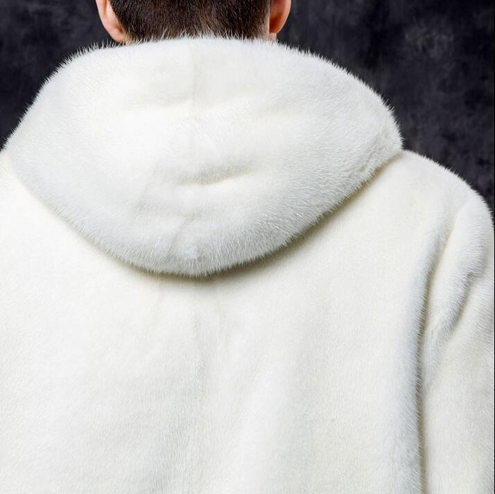 Winter thicken thermal mink hair leather jackets men casual mens short design coats hooded medium-long outerwear overcoat white