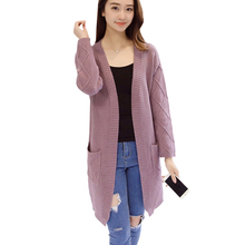 Women Cardigans 2017 New Cashmere Full Sleeve Long Cardigan Sweaters Fashion Open Stitch Solid Knitted Jackets Slim Tops Mujer
