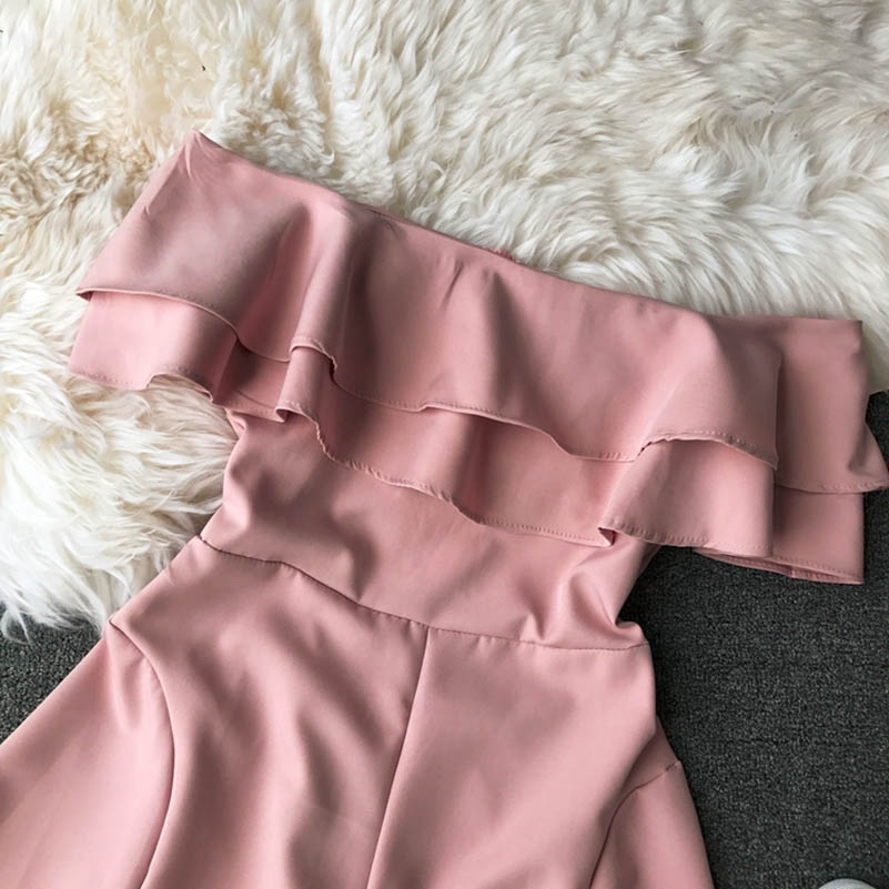 HTB17TWucfWG3KVjSZPcq6zkbXXaK - Candy Color Elegant Jumpsuit Women Summer Latest Style Double Ruffles Slash Neck Rompers Womens Jumpsuit Short Playsuit