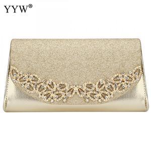 Image 3 - YYW Champagne Wedding Clutch Female Evening Gold Silver Wedding Bags Sac Main Femme With Luxury Florl Rhinestone Clutch Wedding