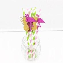 New!50PCS DIY Paper Straws Flamingo&Pineapple&Tree Drinking Straws Kids Birthday Wedding Decorative Party Drinking Straws