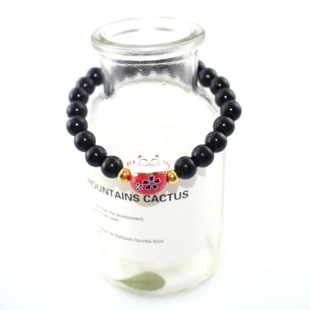 2019 Новый Для женщин Браслеты обсидиан эластичная веревка браслет из натурального камня бусины браслет керамическая фигура «Счастливая Кошечка» милые ювелирные изделия