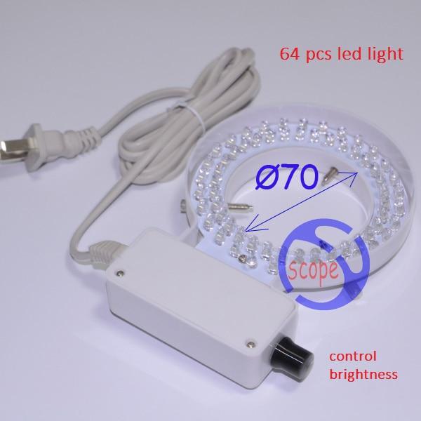 FYSCOPE 70mm Inner Diameter White Ring Light 64 pcs LED White Ring Lamp with Adapter for Stereo Microscope картридж новая вода к 100