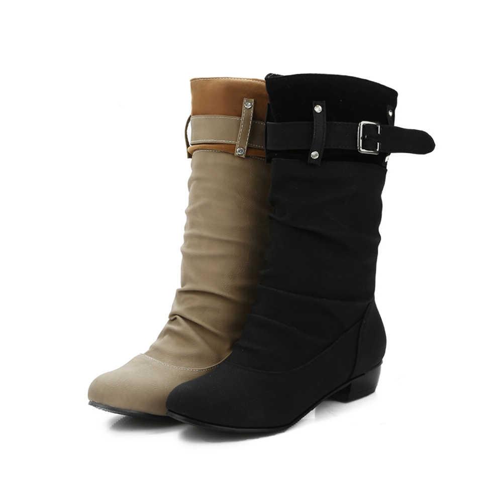 BONJOMARISA 2019 Ilkbahar Sonbahar Batı Sıcak Satış Kadın orta buzağı Botları Artı Boyutu 34-45 Moda Pilili Düşük topuklu Ayakkabılar Kadın