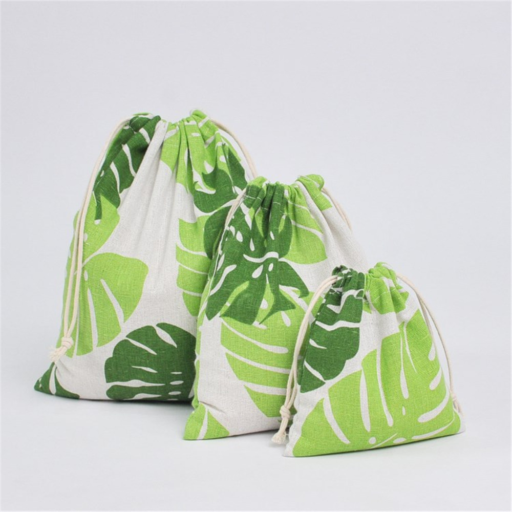 YILE Cotton Linen Drawstring Organized Bag Party Gift Bag Print Big Green Leaf YM16b