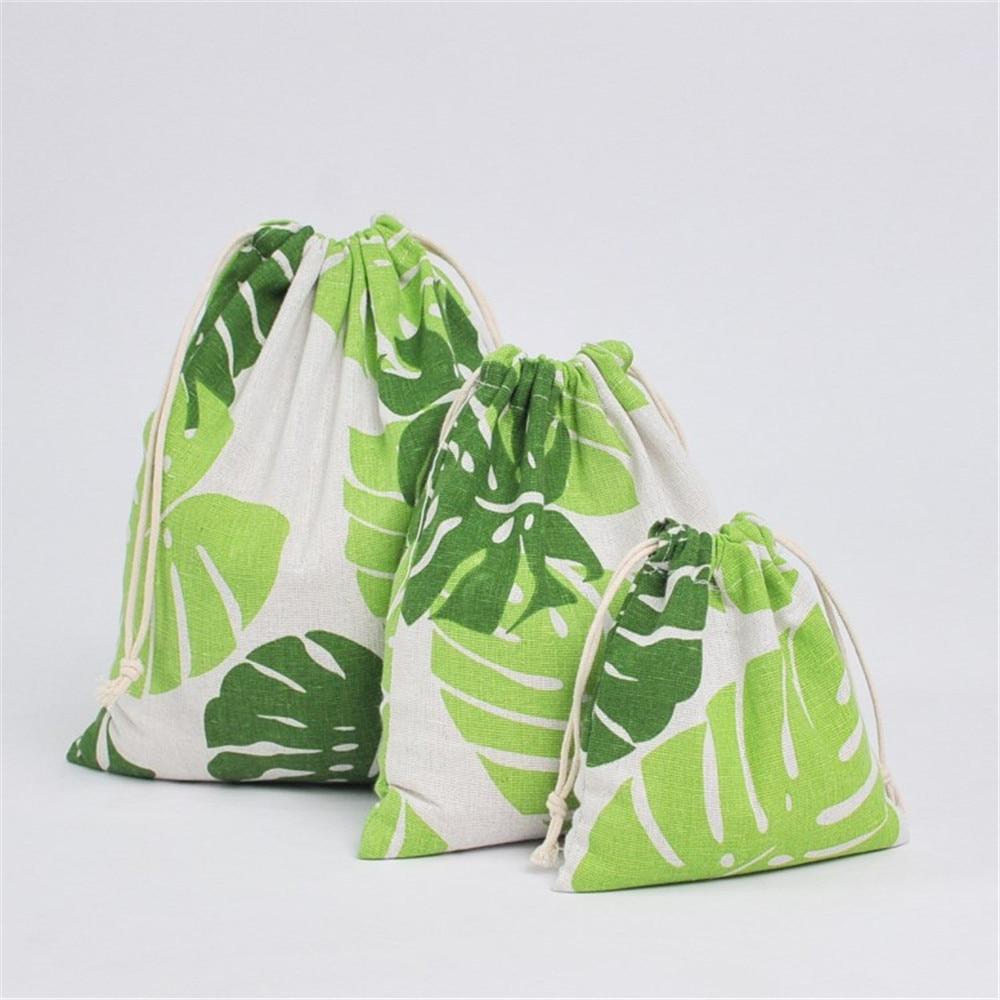 YILE Cotton Linen Drawstring Organized Bag Party Gift Bag Print Big Green Leaf YM16b