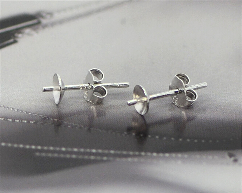 FREE Wholesale 500PCS Lot 925 Sterling Silver Jewelry Findings Ear Pin Pairs Stud Earrings With 925 BACK STOPPERS FY01+02