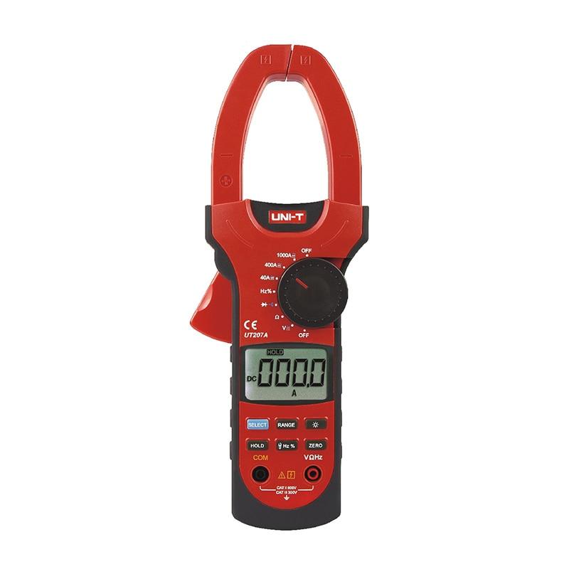 UT207A 3 3/4 Digital Auto Range Digital Clamp Multimeters 1000A 1000V Clamp Meter UNI-T Ammeter Voltmeter LCD Backlight uni t ut58e 4 1 2 digital multimeters range w frequency temperature test ammeter multitester