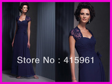 Popular Navy Blue Beaded Lace Short Sleeve Mother of the Bride Gowns Dresses Chiffon M070