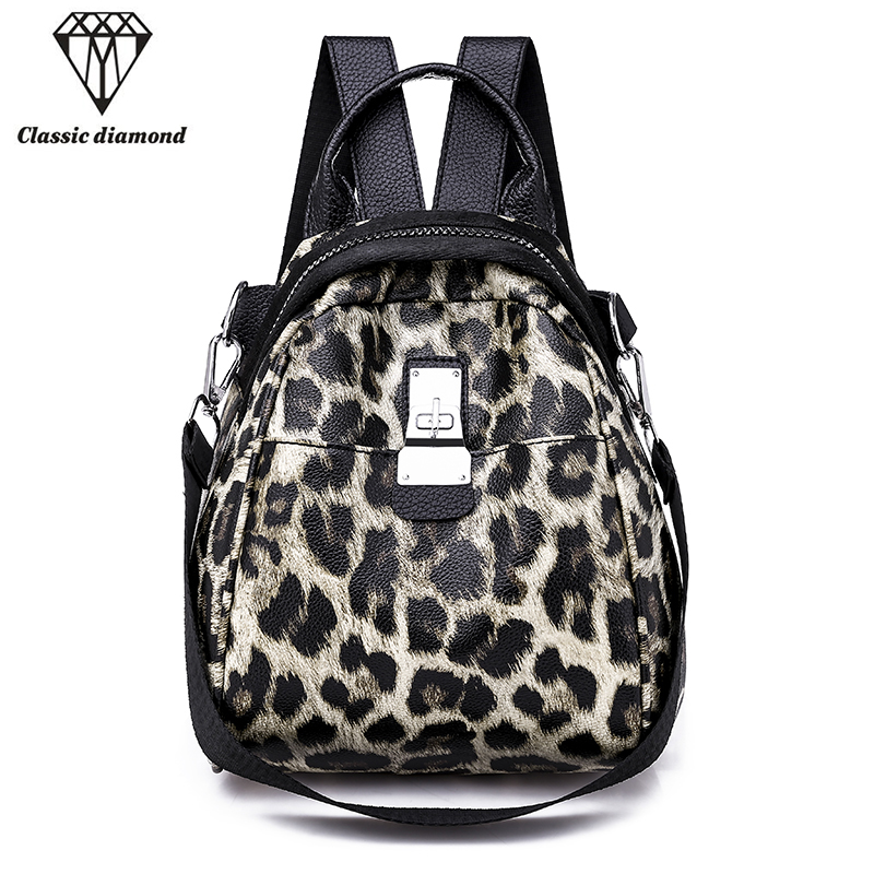 Girl Fashion Leopard Print Small Backpacks Shoulder Bags For Women Mini Backpack For Kids Chain Back Pack Travel Mochila