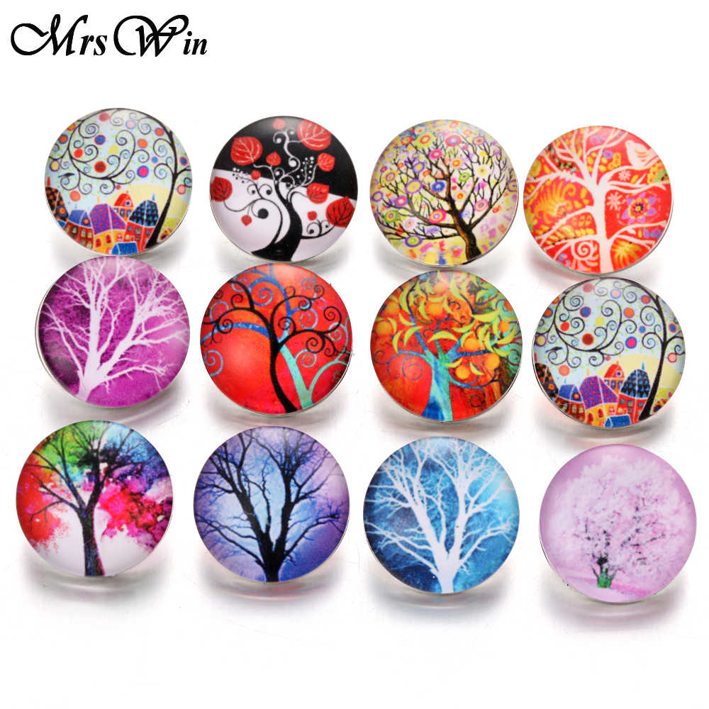10pcs/lot Mixed Tree of Life 18mm Glass Snap Buttons Jewelry Glass Cabochon Fit 18mm Snap Bracelet Bangles Necklace