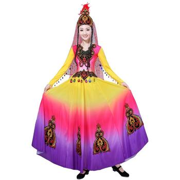 Chinese Style Traditional clothes Women National Folk Dance Costume Long dancing Dress Party show princess stage wear
