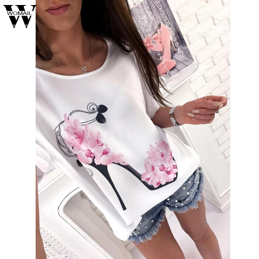 CharmDemon 2017 Women Short Sleeve High Heels Printed Tops Beach Casual Loose Blouse TopS women blouses short sleeves