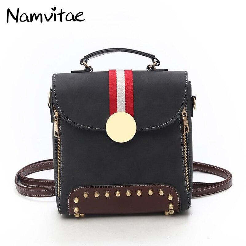Namvitae Vintage Women Backpack PU Leather Shoulder Bag Female Small School Bag New Design Teenager Students Travel Backpacks