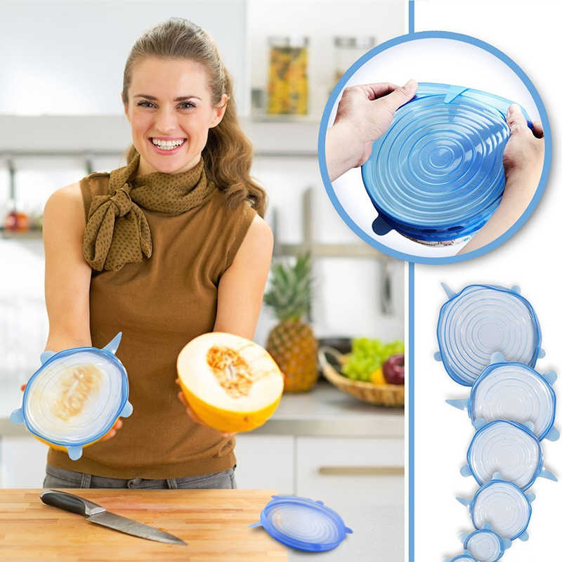 6 pcs/lot Silicone Stretch Lids Food Wrap Bowl Pot Lid Silicone Cover Universal Lid For Cookware Cooking Kitchen Accessories
