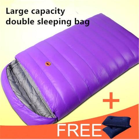 samcamel 2 pessoa capacidade 1800g pato branco para baixo enchimento saco de dormir duplo saco