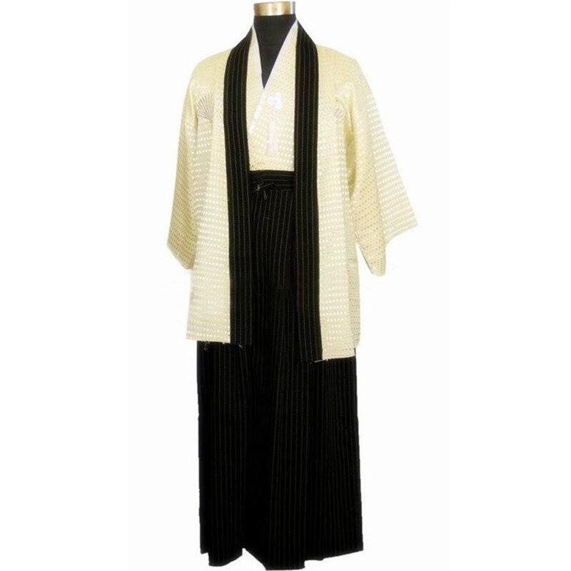 Beige Vintage japonais hommes soie Satin Kimono guerrier Yukata Haori Halloween Costume scène Performance vêtements taille unique