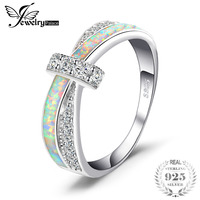 JewelryPalace Fashion Created Opal Crossover Band Ring 925 Sterling Silver Gift For Girlfriend Birthday Present Hot