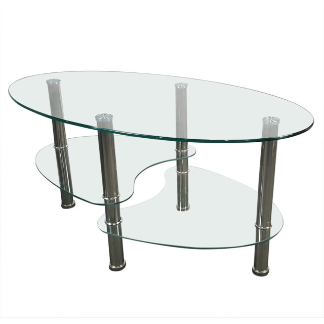 Coffee Table Dual Fishtail Style Tempered Glass Oval Tea Table Transparent  Living Room Furniture Dropshipping