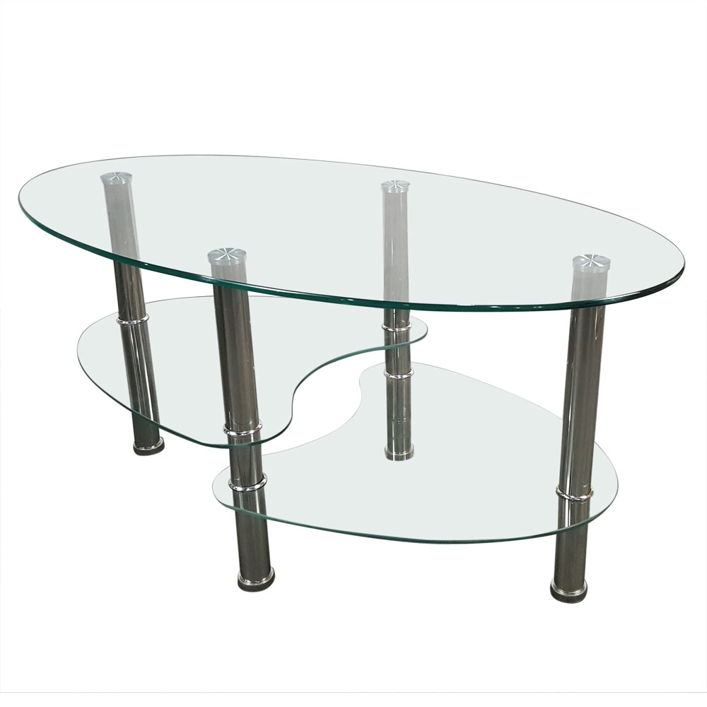Coffee Table Dual Fishtail Style Tempered Glass Oval Tea Table ...