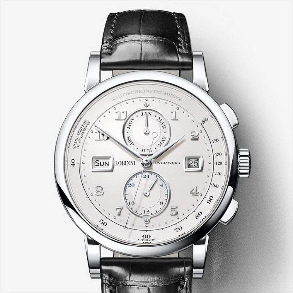 LOBINNI mężczyźni Vogue sukienka 50 M wodoodporny biznes automatyczne mechaniczne zegarek na rękę z data tydzień miesiąc 24 godzinny Format srebrny w Zegarki mechaniczne od Zegarki na  Grupa 1