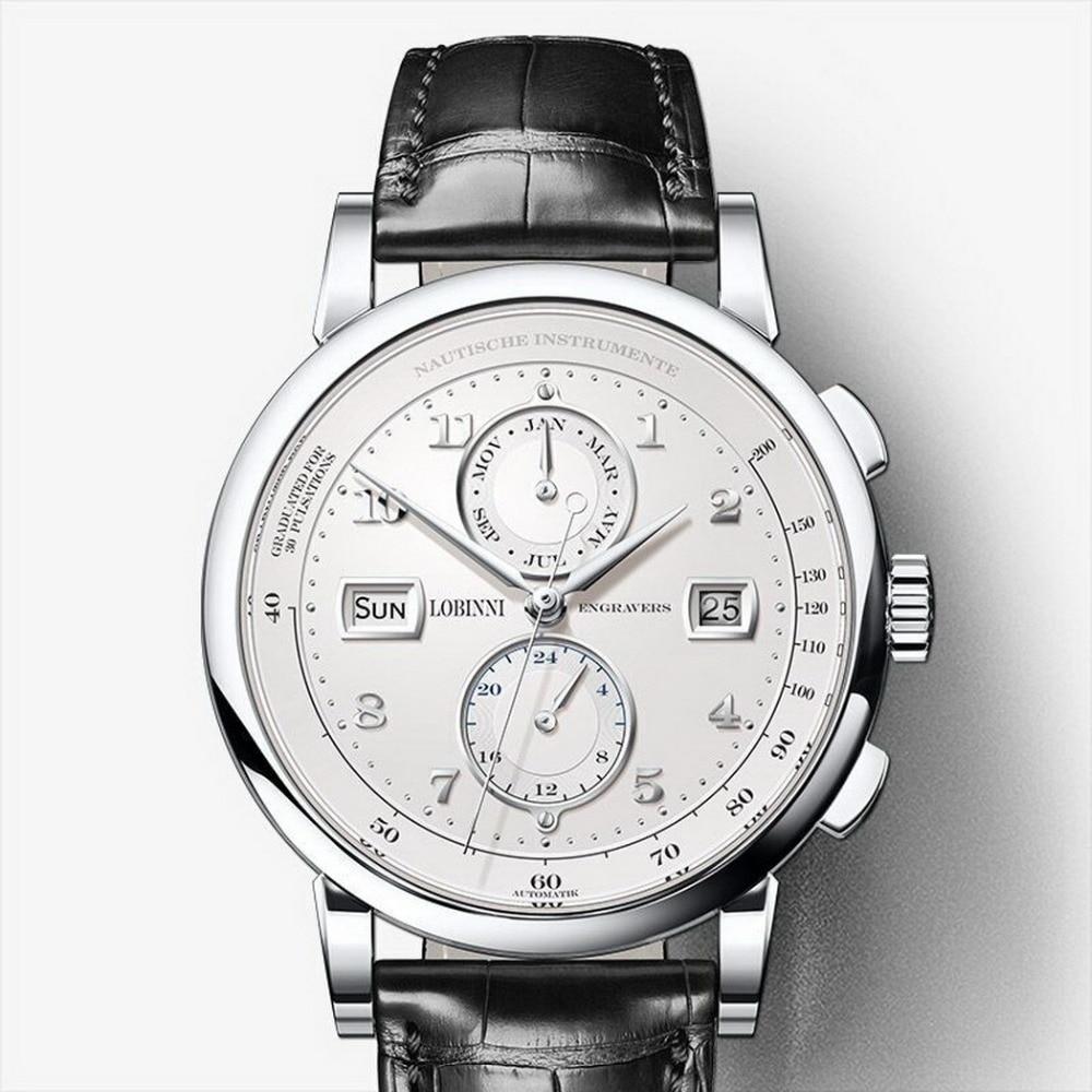 Lovinni 남자 보그 복장 50 m 방수 사업 자동 기계식 손목 시계 월 주 날짜 24 시간 형식 실버-에서기계식 시계부터 시계 의  그룹 1