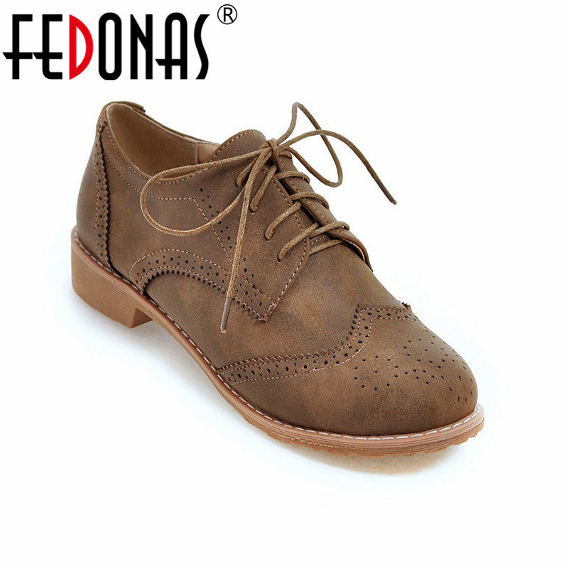 FEDONAS Autumn Spring New Lace Up Women Flat Shoes Round Toe Deep Mouth Leisure Flat Retro Oxfords Shoes Woman Black Yellow