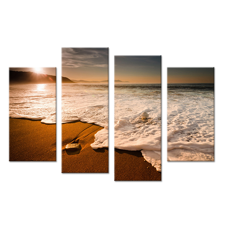 Hot Sells 4 Panels morning waves winter Painting Canvas Wall Art Picture Home Decoration Living Room Print On Canvas modern art