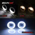 Free Shipping IPHCAR Car Styling Universal High and Good Quality Super Bright Optical COB Angel Eyes LED Fog Light with LED DRL