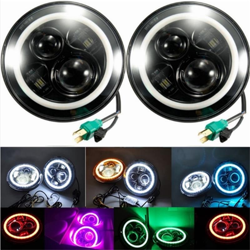7Inch Round Led Headlight for 97-17 Jeep Wrangler with Halo Angel Eye & DRL & Turn Signal Lights for Jeep JK LJ CJ Hummer H1 H2 7 inch round led headlight with red signal halo angle eyes with white drl halo for 97 15 jeep wrangler