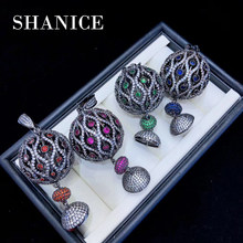 SHANICE Big Teardrop 1pc 35mm Flower DIY Jewelry Paved Cubic Zirconia Paved CZ Necklace Pendant Tassel Caps DIY Jewelry Findings