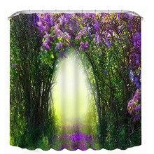 1 Pcs Haute Qualité Naturel Paysage 3D D'impression Rideaux Étanche Personnalité Salle De Bain En Tissu Rideau De Douche avec 1 set outil