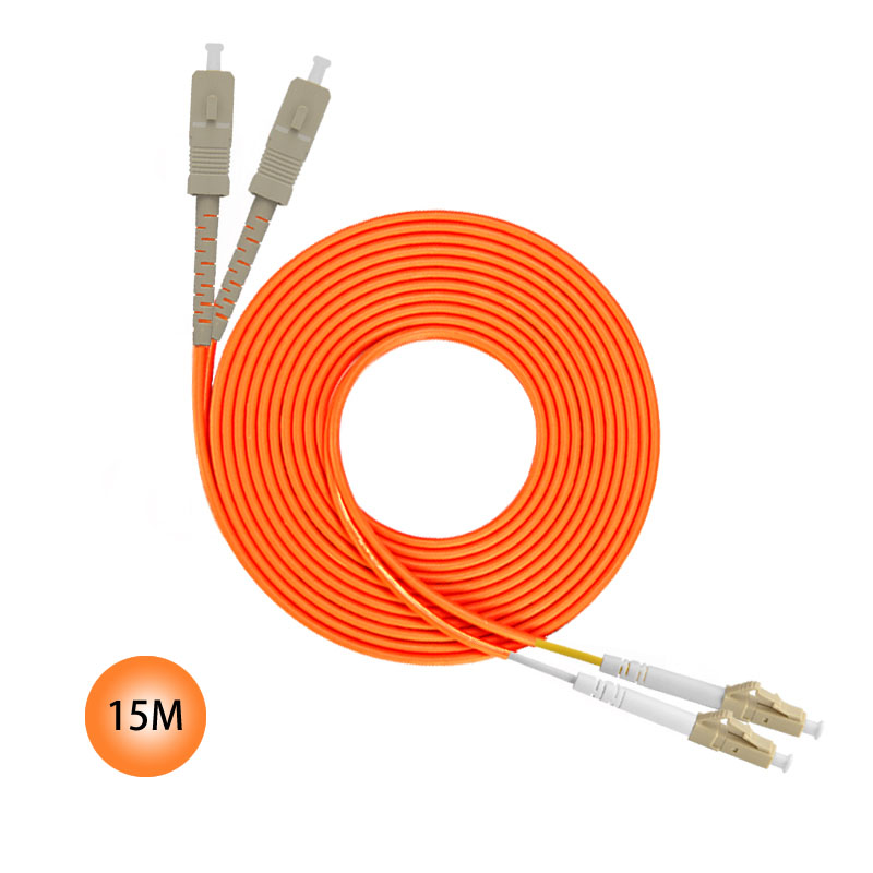 SC to LC 50/125 Multimode Duplex Plenum Fiber Patch Cable 15M Jumper Cable 50 Microns UPC Polish Orange OFNP Jacket OM2